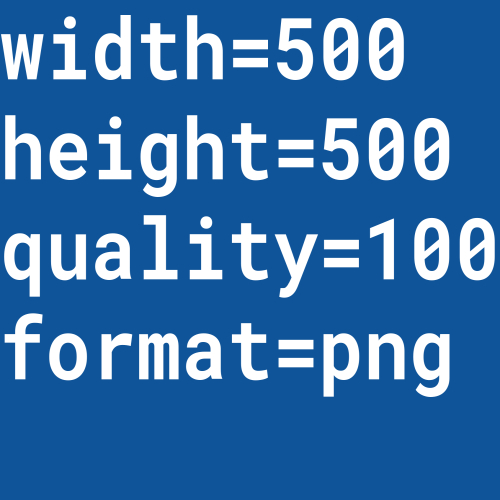 A placeholder image which displays the width, height, format, and quality of the image requested as text within the image.