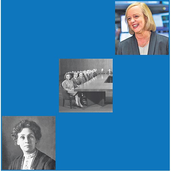 From bottom: Emmeline Pankhurst, suffragette; Katharine Graham and the AP board; Meg Whitman, HP CEO