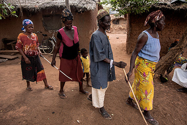Residents of Asubende in Ghana who have lost their sight because of onchocerciasis