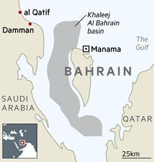 Map showing Khaleej Al Bahrain Basin in Bahrain