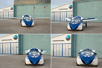 The AeroMobil can transform itself from plane to car in a matter of seconds by retracting its wings and tucking in its back propeller