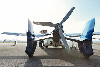 A back view of the AeroMobil preparing for take-off