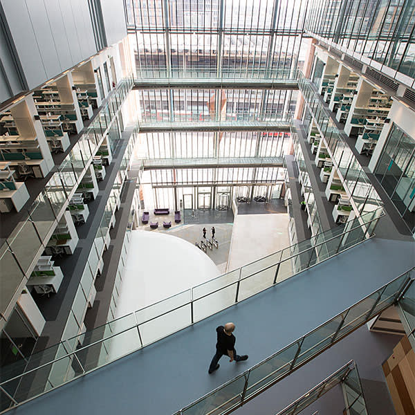 'Laboratory neighbourhoods' are connected across the institute's atriums