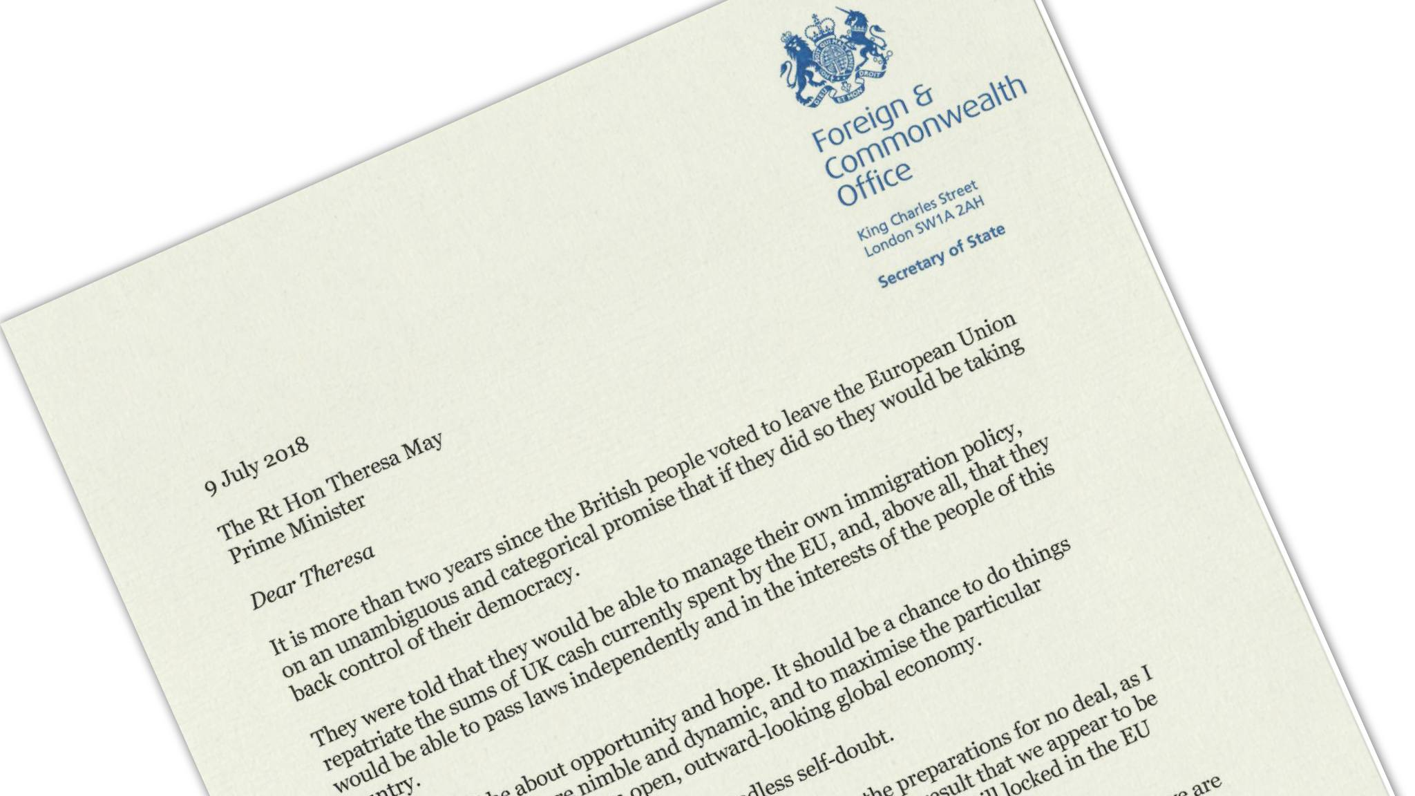 Boris Johnson\'s resignation letter, annotated
