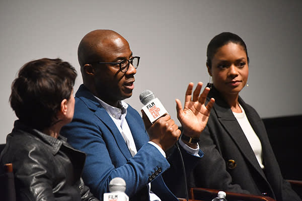 Jenkins and actor Naomie Harris discussing the film in LA