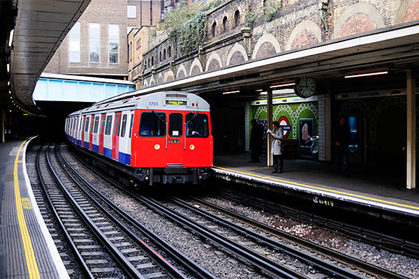 Sloane Square Tube station and the giant overhead pipe carrying the waters of the Westbourne river