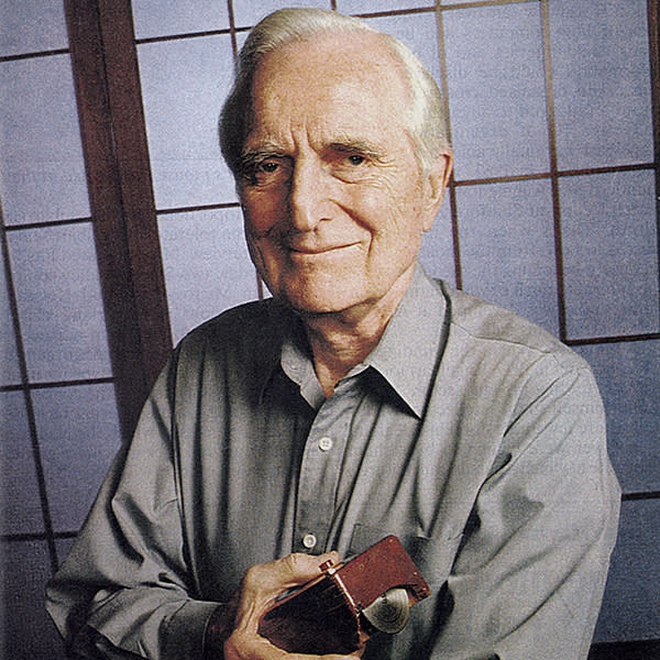 Douglas C. Engelbart, American engineer, inventor of the computer mouse in 1963, here c. 1990  (Photo by Apic/Getty Images)