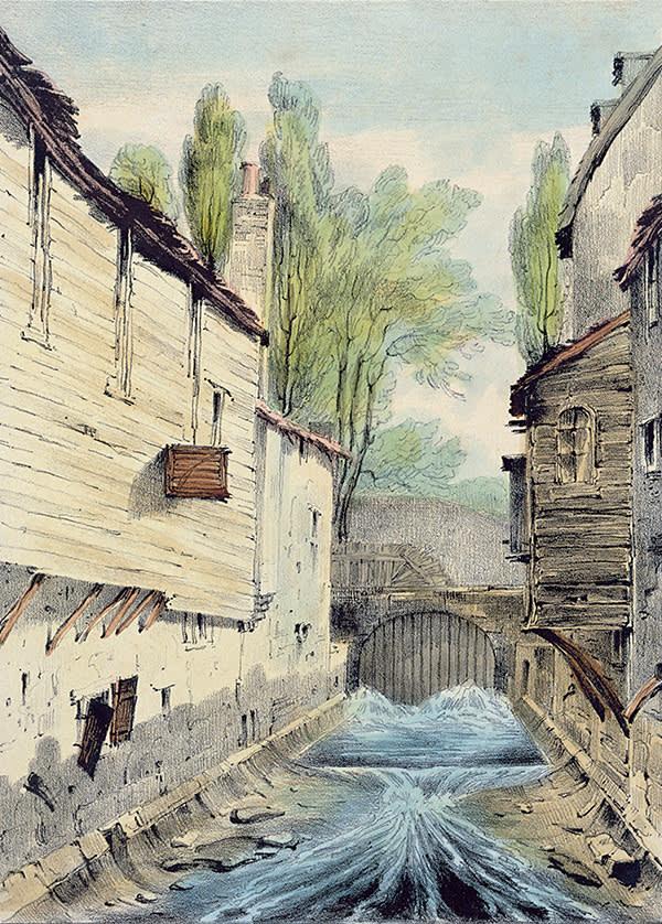 'Knights' Bridge, London' (c1825) by Giles Firman Phillips