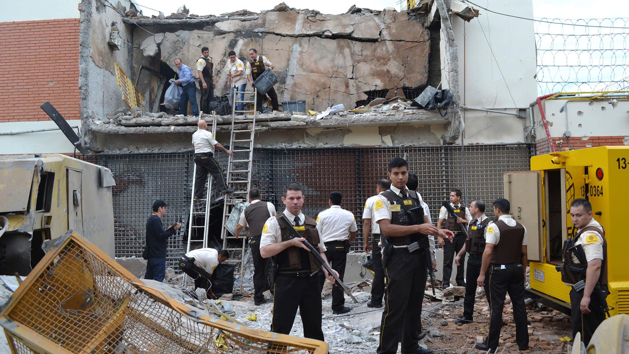 The scene of the security depot raid in Ciudad del Este, Paraguay, this April