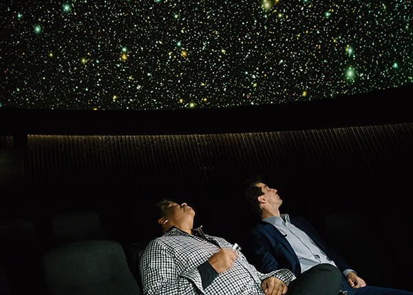 Neil deGrasse Tyson and Kadhim Shubber gaze at the Royal Observatory's planetarium in Greenwich