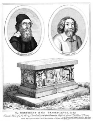 John Tradescant, Elder and Younger, in an etching above their tomb
