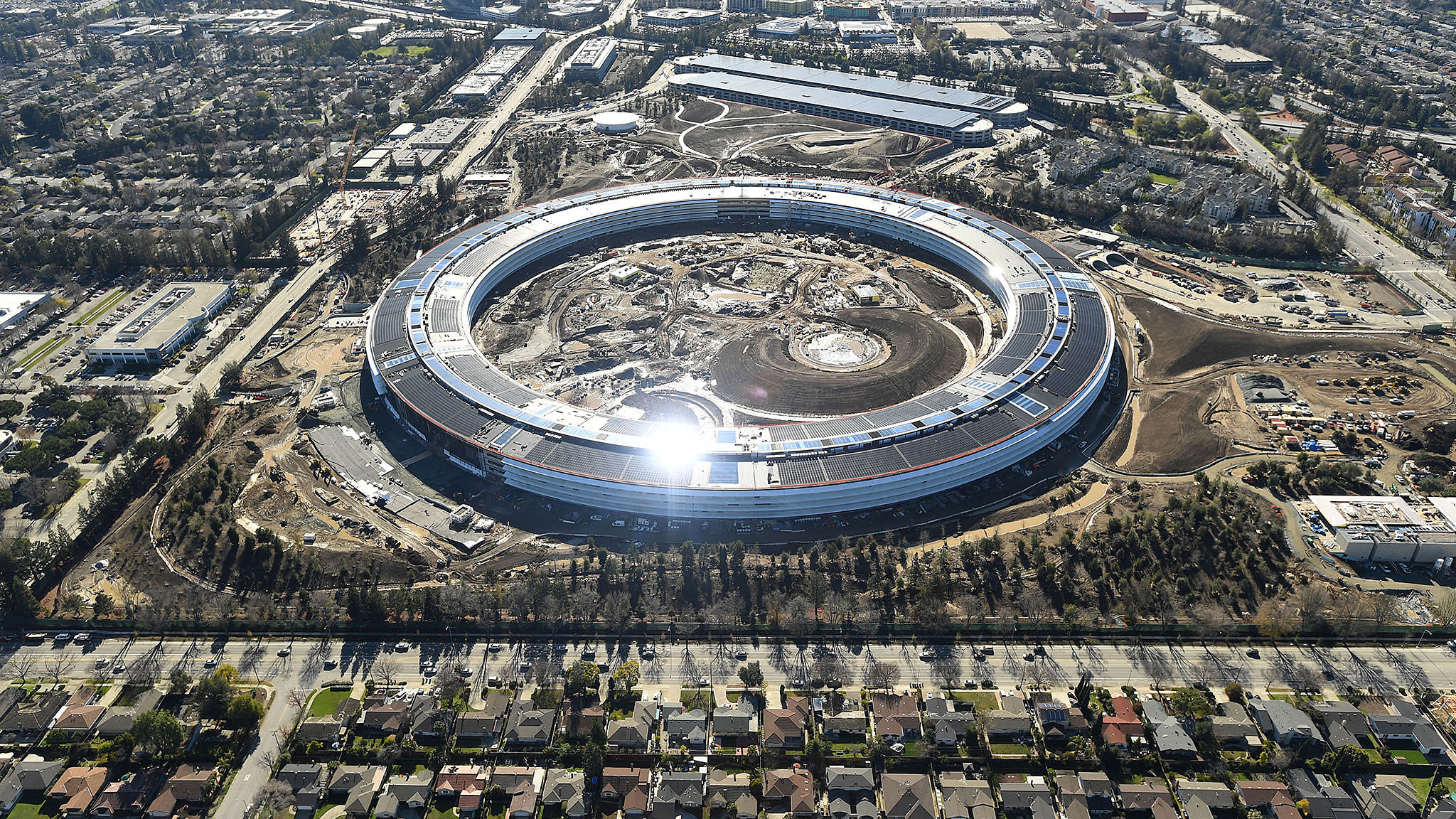 The Apple Campus 2 is seen under construction in Cupertino, California in this aerial photo taken January 13, 2017
