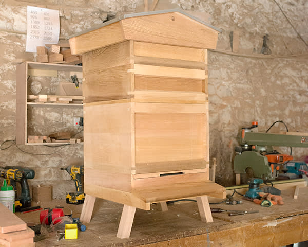 A completed beehive in Nick Buttle's workshop in Tideswell, Derbyshire