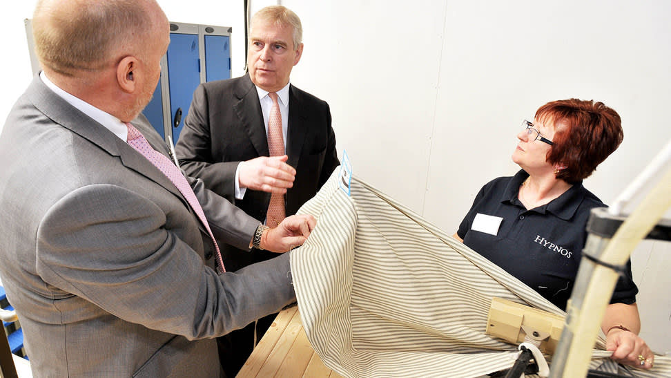 Royal approval: Stephen Ward and Sharon Ball, sewing machine operator, with Prince Andrew (centre)