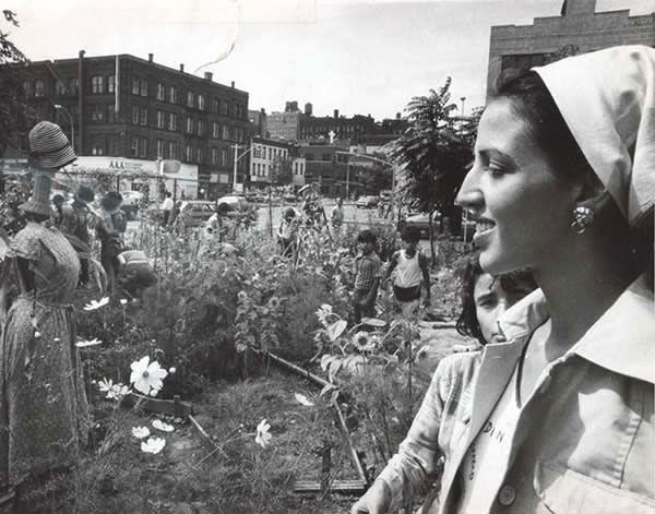 Liz Christy, of New York's Green Guerillas, in a community garden on the Lower East Side in 1975