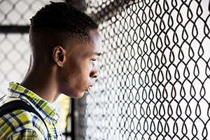 Ashton Sanders as the teenage Chiron in 'Moonlight'
