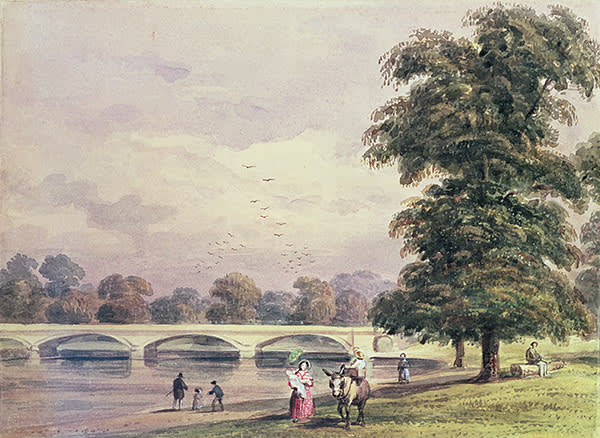 'The Bridge between Kensington Gardens and Hyde Park on the Serpentine' (1840) by Thomas Hosmer Shepherd