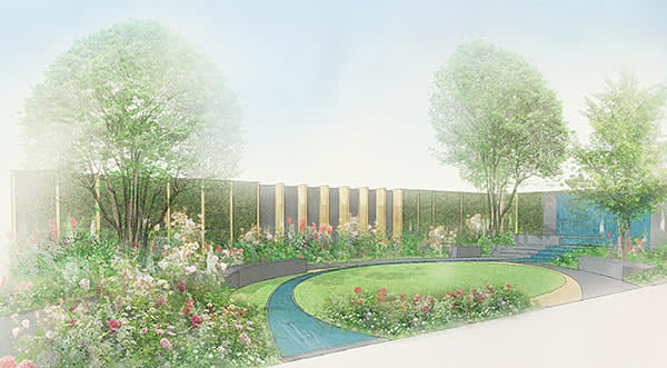 Artist's image of the Chelsea Barracks Garden by Jo Thompson