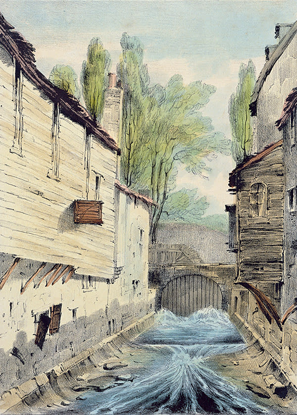 'Knights' Bridge, London' (c1825) by Giles Firman Phillips