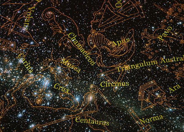 Constellations projected on to the planetarium's dome