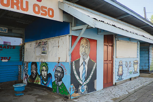 A mural of Dési Bouterse in downtown Paramaribo