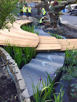 The 'riverbed', made from hornfels stone, flows into the pool