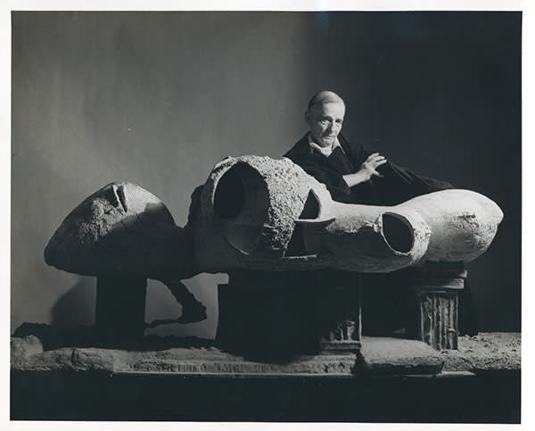 Frederick Kiesler with the model for his Endless House in New York, 1959