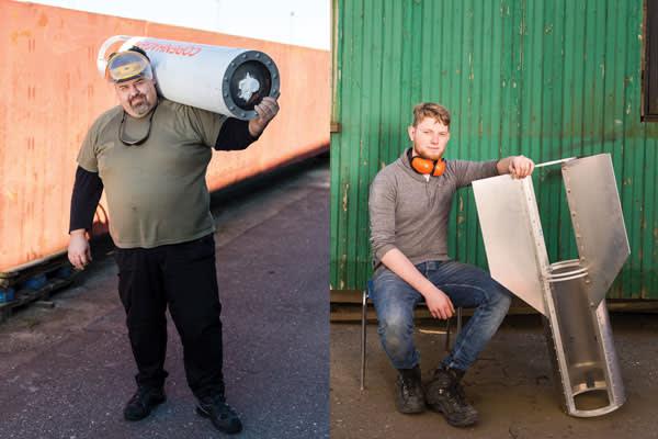 Morten Bulskov, left, is responsible for logistics; intern Jop Nijenhuis