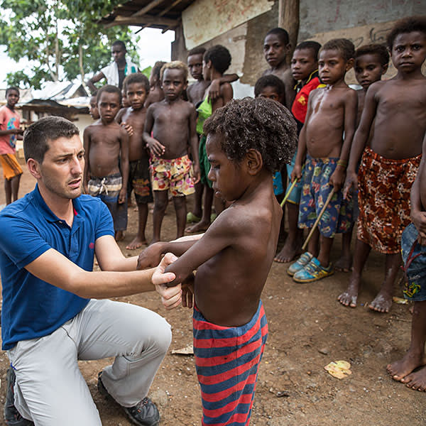 Dr Oriol Mitjà performs check-ups for yaws
