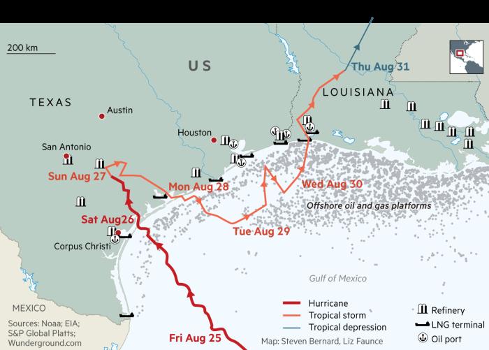 Petrol Slips Back As US Refineries Restart - Us refinery map