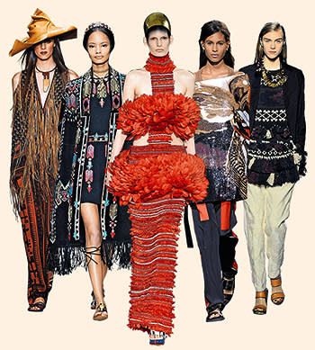 Left to right, from the spring/summer 2014 collections of Donna Karan; Valentino; Alexander McQueen; Givenchy; Dries Van Noten