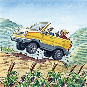 An illustration by Ingram Pinn of Jancis Robinson travelling to Douro valley