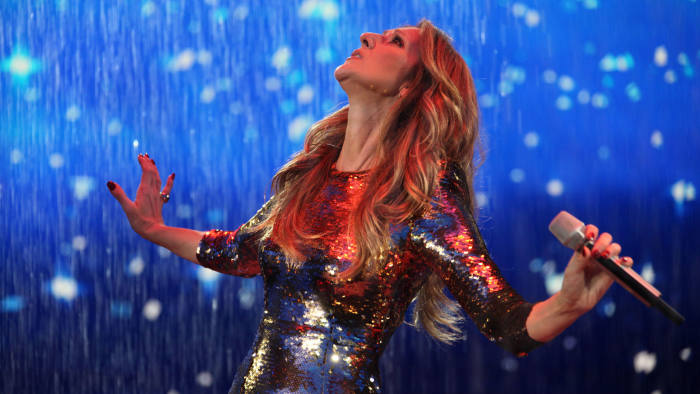 Singer Céline Dion on stage in China in 2013