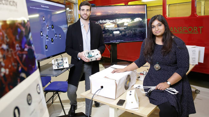 Iván Gabriel Leis and Lalitha Kakulapati with the prototype of ElecTree