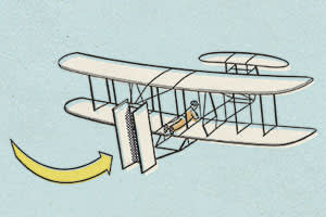 An illustration of Wright brothers' inaugural flight