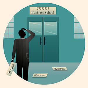 Deciding on the name of a business school. Illustration by Nick Lowndes