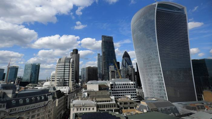 LONDON, ENGLAND - JUNE 27: (Editors note, image taken through wire fencing) A general view of office buildings in The City of London including the Walkie Talkie (20 Fenchurch St ) as the financial markets face uncertainty in the wake of Brexit on June 27, 2016 in London, England. Earlier today Chancellor George Osborne said that contingency plans were in place to shore up the economy amid ongoing market volatility after Britain's vote to exit the European Union. (Photo by Christopher Furlong/Getty Images)