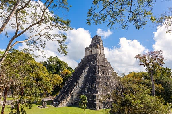 The temple in the main plaza of the Tikal ruins