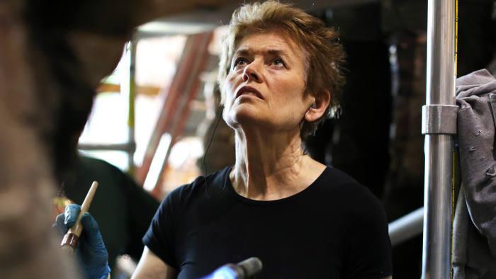 Ursula von Rydingsvard at work last year on her sculpture 'Ona'