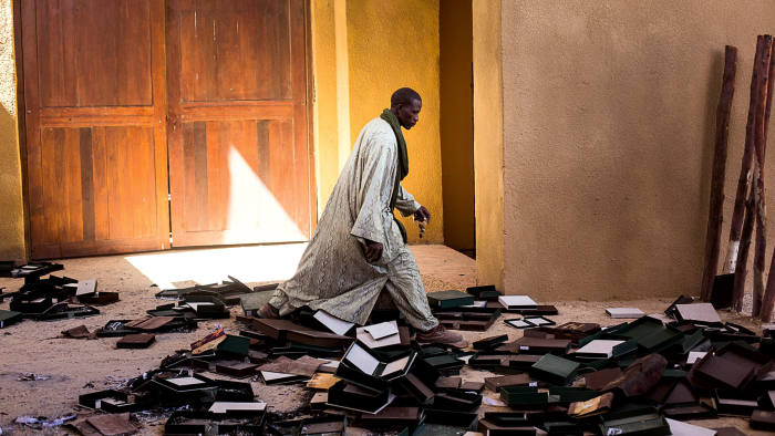 The remains of a collection of ancient manuscripts burnt by Islamists prior to fleeing Timbuktu