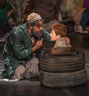 Fagin and Oliver on stage