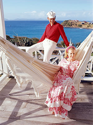 Lord Glenconner and his wife, Anne, on Mustique in 1967