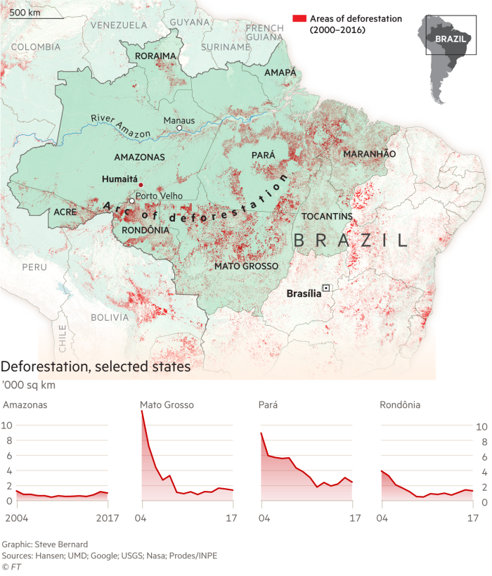 Amazon deforestation 2000-2016 map