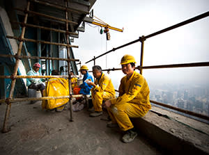 Workers taking a lunch break on the 90th floor