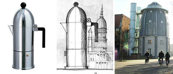 From left: La Cupola espresso coffee maker by Aldo Rossi, 1988; a sketch of Rossi's coffee maker; and the Bonnefanten Museum in Maastricht, designed by Rossi and built in 1995