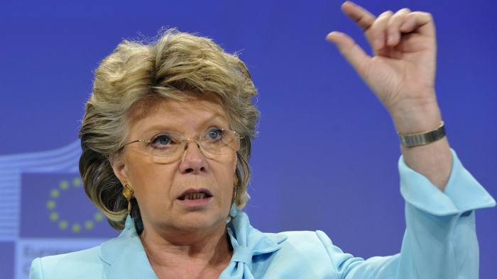 EU justice commissioner Viviane Reding gives a presss conference on June 26, 2013 to present a progress report at the EU headquarters in Brussels on how different EU member states are integrating Roma people. AFP PHOTO / GEORGES GOBET (Photo credit should read GEORGES GOBET/AFP/Getty Images)