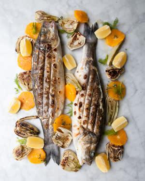 Rowley Leigh's sea bass barbecue
