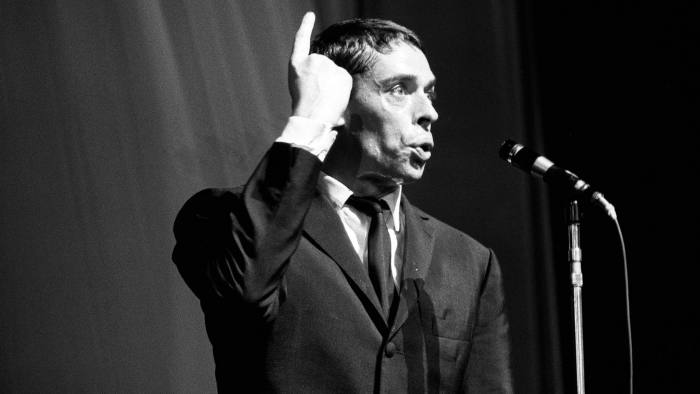 FRANCE - OCTOBER 01: Jacques Brel performs at the Olympia in Paris, France in October , 1964 (Photo by Andre SAS/Gamma-Rapho via Getty Images)