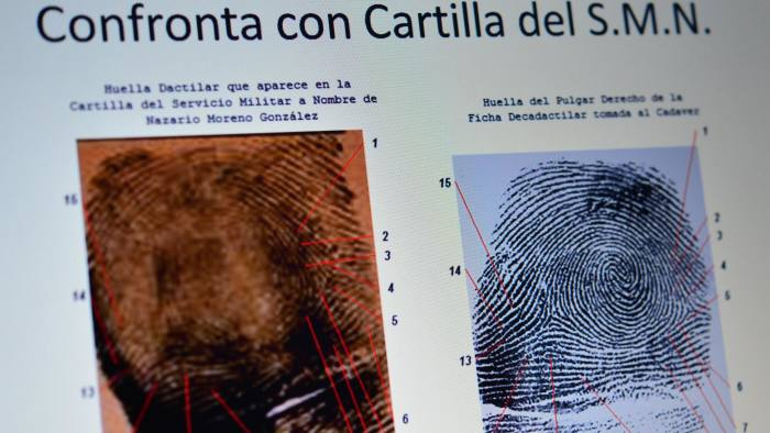Picture of a screen with a comparison of the alleged fingerprints of Nazario Moreno aka