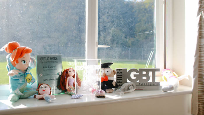Awards and mermaids on a windowsill